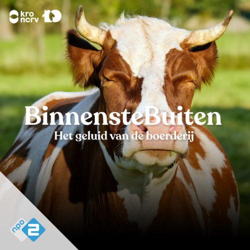 Kop van kop met tekst BinnensteBuiten Het geluid van de boerderij